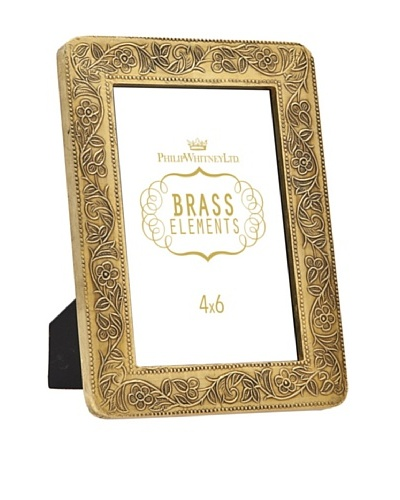 Philip Whitney Brass Flower Scroll 4x6 Frame