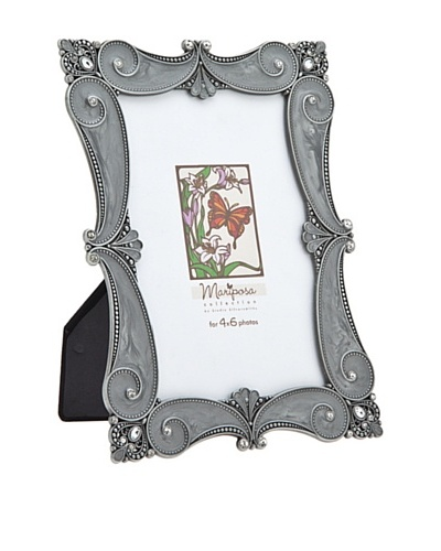 Philip Whitney Mariposa Pewter Grey Scroll Scalloped 4x6 Frame
