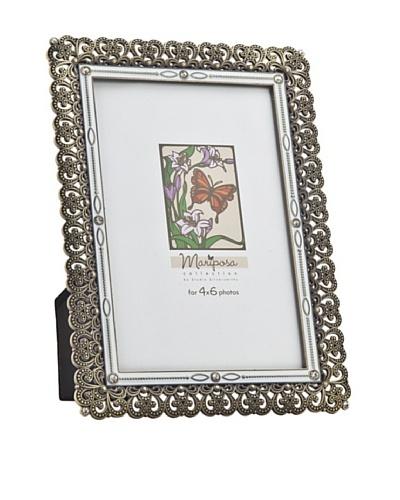 Philip Whitney Mariposa Bronze & White Enamel 4x6 Frame