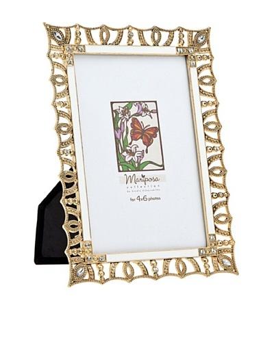 Philip Whitney Mariposa Gold/White Scalloped 4x6 Frame