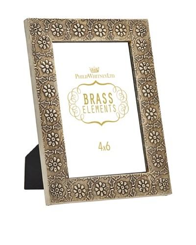 Philip Whitney Brass Round Flower 4x6 Frame