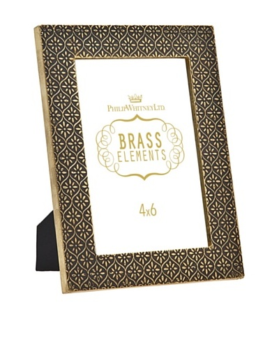 Philip Whitney Brass Flower 4x6 Frame