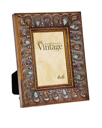 Philip Whitney Peacock Enamel & Jewel 4x6 Frame