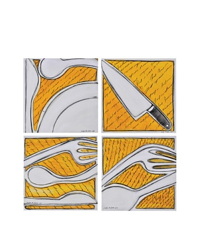 Phillips Collection Set of 4 Fork Spoon Knife Plate Wall Tiles, Yellow/White