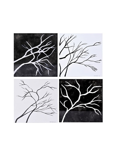 Phillips Collection Set of 4 Winter Days & Nights Wall Tiles, White/Black