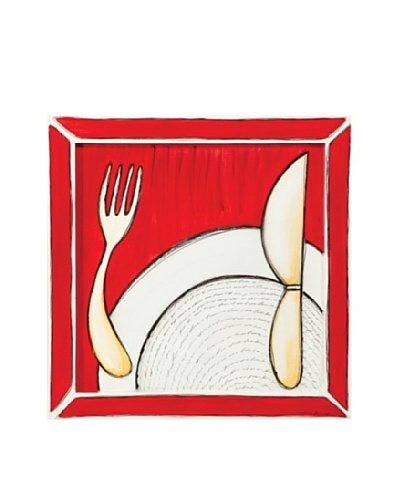 Phillips Collection Framed Fork Knife Plate Painting, Red/White