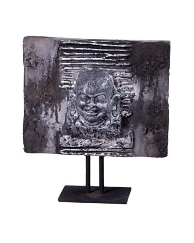 Phillips Collection Lava Stone Buddha Head on Iron Stand, Grey
