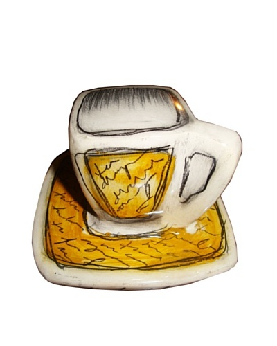 Phillips Collection Coffee Cup & Saucer, Yellow/White