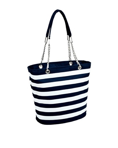Picnic at Ascot Stripe Cooler Tote, Blue and White