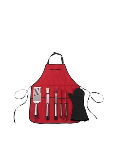 Picnic at Ascot B.B.Q-Chef's Barbecue Apron and Tools [Red]
