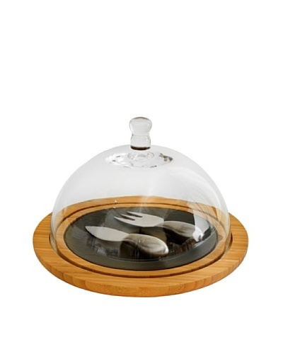 Picnic at Ascot Provence Bamboo & Slate Cheese Board with Glass Dome