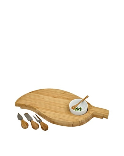 Picnic at Ascot Leaf Cheese Board Set with Bowl [Bamboo]