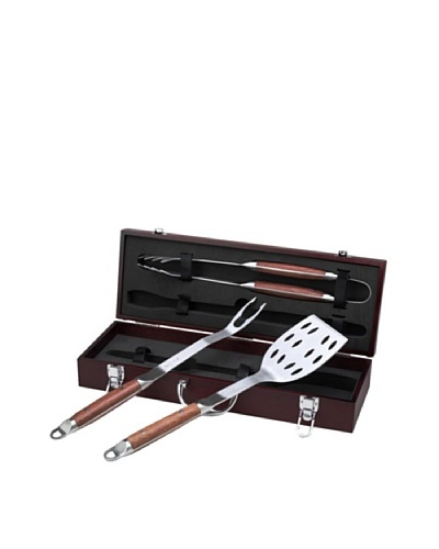 Picnic at Ascot BBQ Tool Set, Wood Box