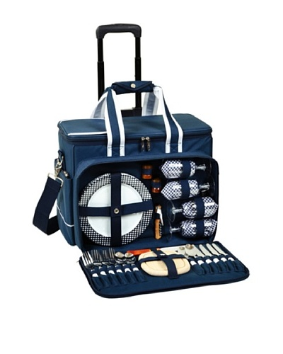 Picnic at Ascot Deluxe Picnic Cooler for Four on Wheels [Navy]