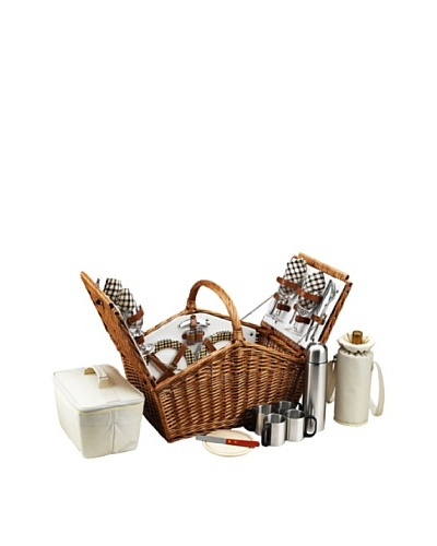 Picnic at Ascot London Plaid Huntsman Basket for Four with Coffee Service