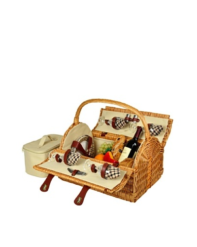 Picnic at Ascot Yorkshire Picnic Basket for 4 with Coffee, Wicker/London Plaid