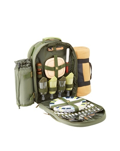 Picnic at Ascot Eco Picnic Backpack Cooler for Four with Blanket, Forest Green