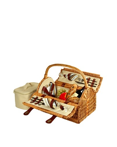 Picnic at Ascot Sussex Picnic Basket for 2, Wicker/SC Stripe
