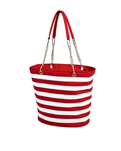 Picnic at Ascot Stripe Cooler Tote, Red and White