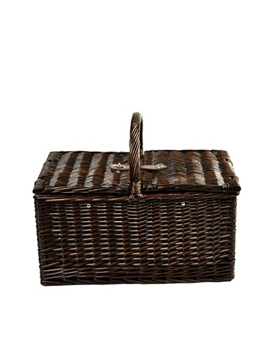 Picnic at Ascot Buckingham Basket for 4 with Coffee, Brown Wicker/SC Stripe