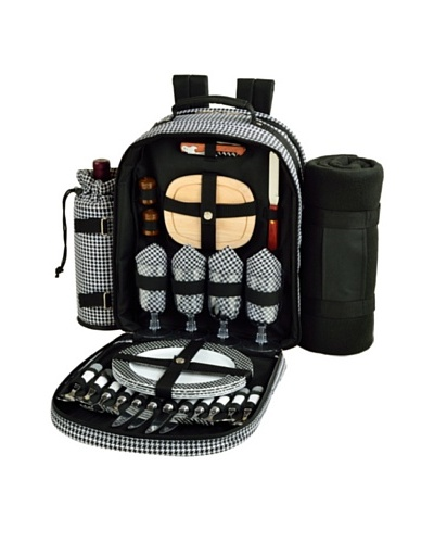 Picnic at Ascot Picnic Backpack for 4 with Blanket, Houndstooth