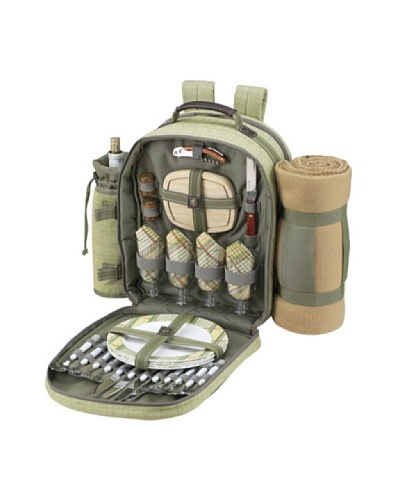 Picnic at Ascot Hamptons Picnic Backpack with Blanket, Olive/Tweed