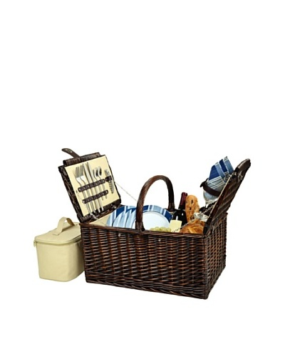 Picnic at Ascot Buckingham Picnic Basket for 4 [Brown Wicker/Blue Stripe]