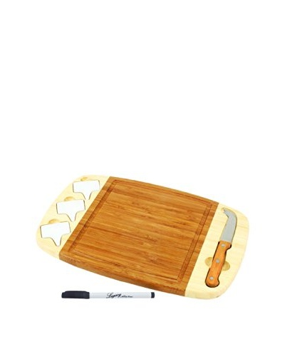 Picnic Time Delio Bamboo 14 Cheese Board/Tool Set, Natural Wood