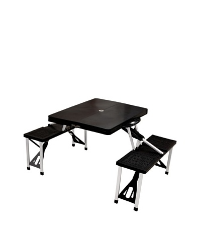 Picnic Time Portable Folding Picnic Table with Seating for 4 [Black]