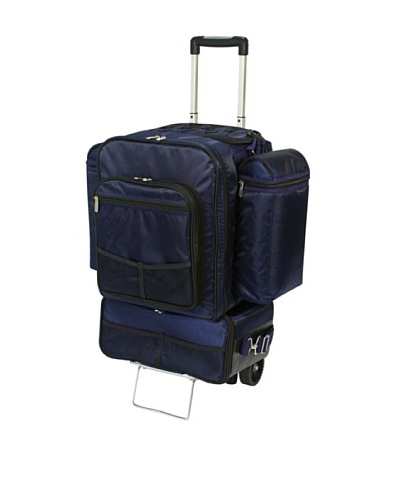 Picnic Time Excursion Deluxe Cooler on Wheels with Picnic Service for 4 [Navy]