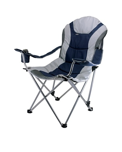 Picnic Time Portable Reclining Camp Chair [Navy/ Grey]