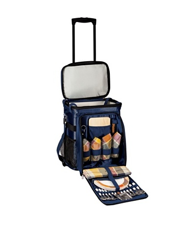 Picnic Time Avalanche Deluxe Wheeled Picnic Cooler with Service for 4
