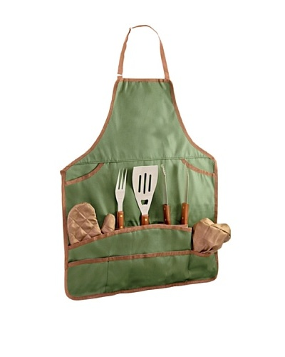 Picnic Time BBQ Apron Tote with Tools, Green