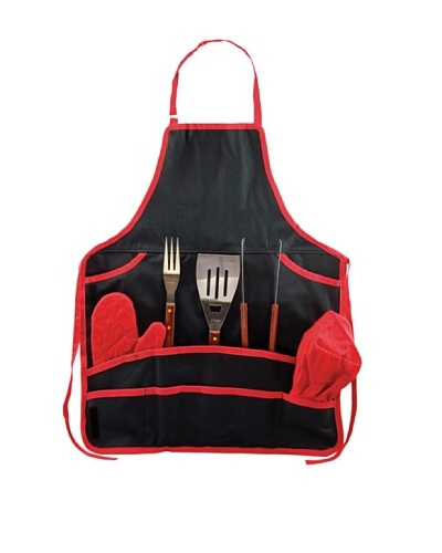 Picnic Time BBQ Apron Tote with Tools, Black