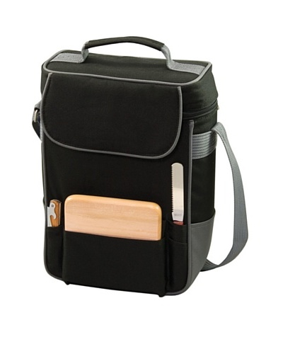 Picnic Time Duet Insulated Wine and Cheese Tote, Black and Silver