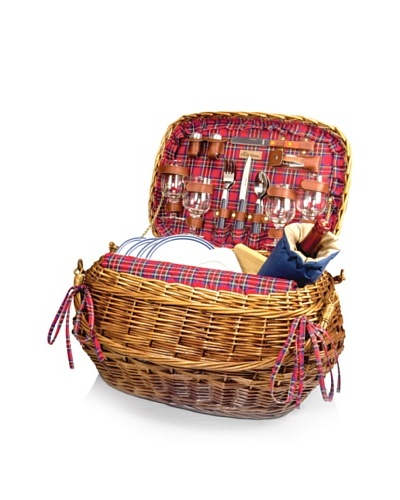 Picnic Time Highlander Picnic Basket with Service for 4