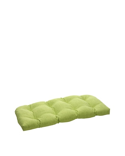 Pillow Perfect Outdoor Baja Textured Solid Wicker Loveseat Cushion, Lime Green