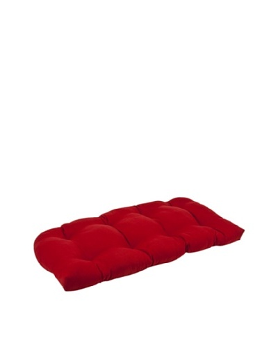 Pillow Perfect Outdoor Pompeii Solid Wicker Loveseat Cushion, Red