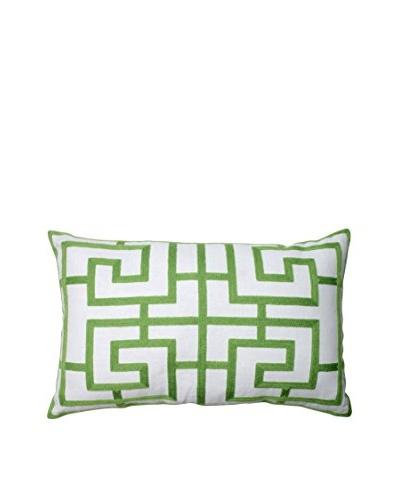 Embroidered Green Geometric Rectangular Throw Pillow