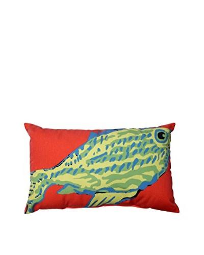 Blue-Green Fish Rectangular Throw Pillow