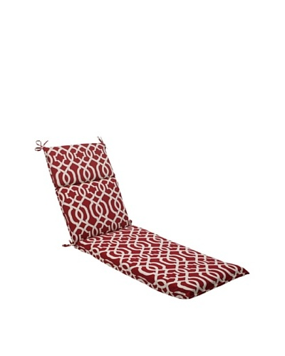Pillow Perfect Outdoor New Geo Chaise Lounge Cushion, Red