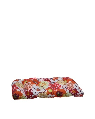 Pillow Perfect Outdoor Floral Fantasy Wicker Loveseat Cushion, Raspberry