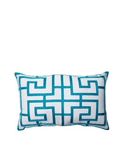 Embroidered Blue Geometric Rectangular Throw Pillow