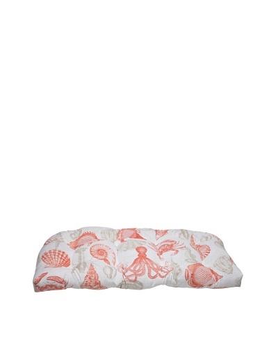 Pillow Perfect Outdoor Sea Life Coral Wicker Loveseat Cushion, Orange/Tan