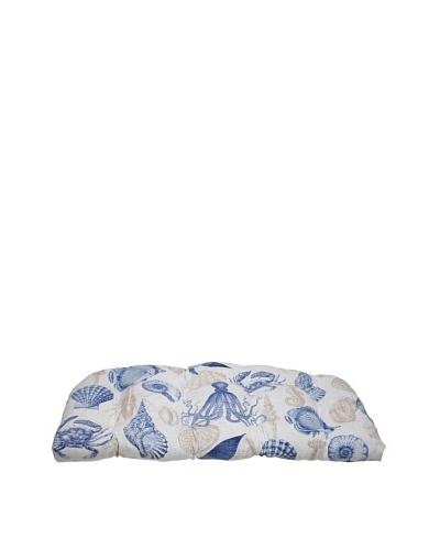 Pillow Perfect Outdoor Sea Life Marine Wicker Loveseat Cushion, Blue/Tan