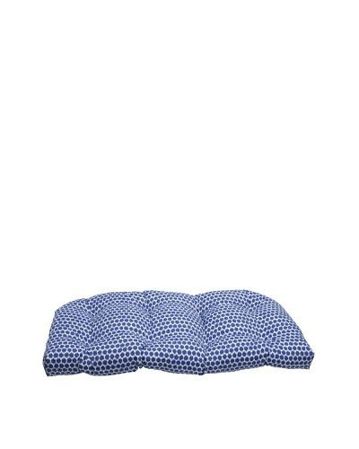 Pillow Perfect Outdoor Seeing Spots Wicker Loveseat Cushion, Navy