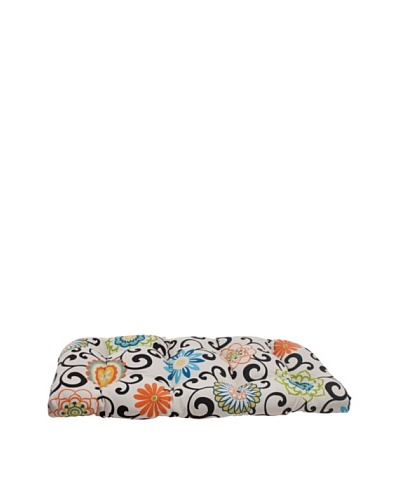 Pillow Perfect Indoor/Outdoor Pom Pom Play Lagoon Wicker Loveseat Cushion, Black/Blue