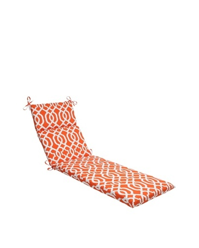 Pillow Perfect Outdoor New Geo Chaise Lounge Cushion, Orange