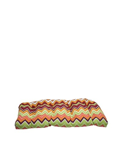 Pillow Perfect Outdoor Zig Zag Wicker Loveseat Cushion, Raspberry