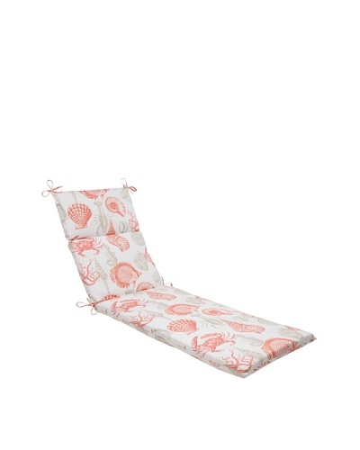 Pillow Perfect Outdoor Sea Life Coral Chaise Lounge Cushion, Orange/Tan